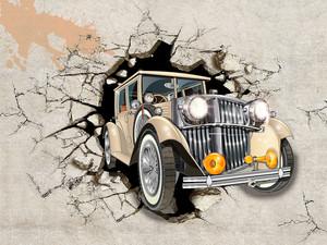 Ретро машина из бетонной стены