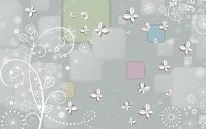 Красочный фон, белые бумажные бабочки