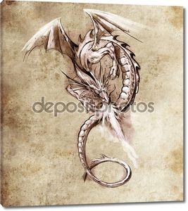 Фэнтези Дракон. Эскиз тату искусства, средневекового монстр