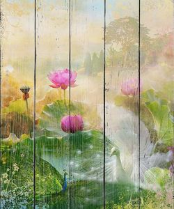 Яркие цветы туманным утром