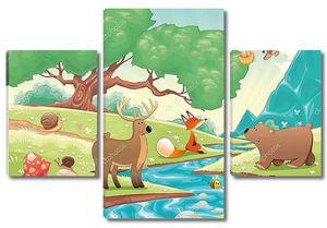 Животные нарисованные в лесу