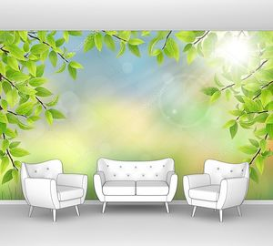 Летний фон с зелеными листьями