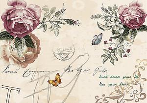 Открытка с цветами со штемпелем