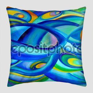 Современные масляной живописи Аннотация с концепцией Вселенной в синий и зеленый.