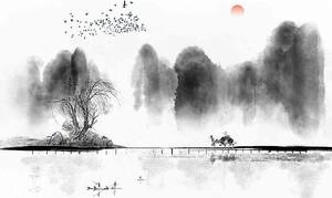 Китайская пастораль акварелью