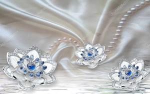 Шелк, цветы с синими стразами