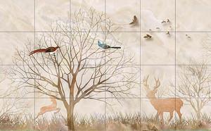 Дерево и животные на кафеле