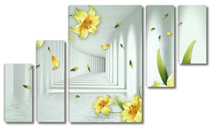 Желтые лилии с туннелем
