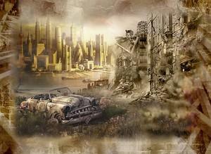 Разрушенный город рядом с новым