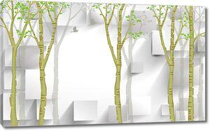 Объемные прямоугольники с деревьями