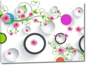 Цветные круги, розы