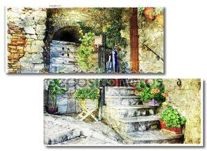 очаровывание старых улиц итальянских деревень (casperia), артистического пи