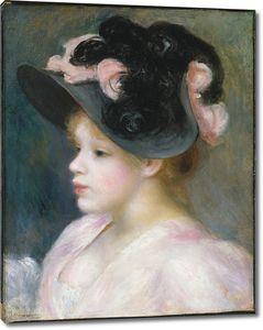 Пьер Огюст Ренуар. Девушка в черной с розовым шляпе