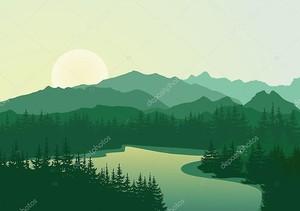 Прекрасный рассвет на горное озеро