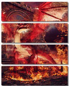 Красный дракон в кольце огня