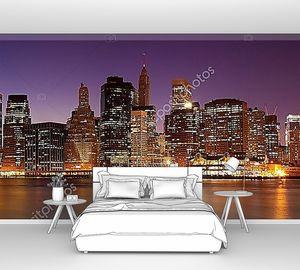 Нью-Йорк - панорамный вид на Манхэттен ночью
