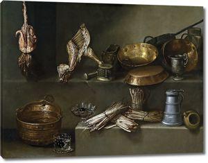Игнасио Ариас. Натюрморт с посудой для приготовления пищи и спаржей