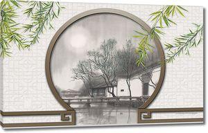 Вид из арочки на дом у реки