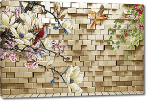 Сакура и птицы на кирпичной стене