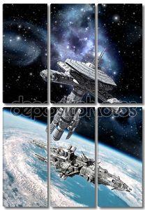 Obital космической станции и космический корабль