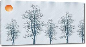 Серый фон, контуры деревьев, красное солнце