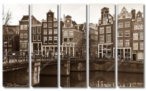 Amsterdam Canal Street view in Sepia