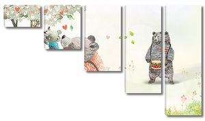 Семья медведей у дерева
