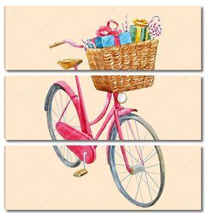 Акварель велосипед с подарками