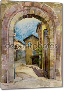 Stone gate in Assisi, Italy