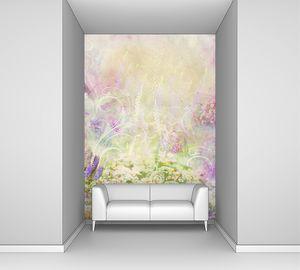 Розово-голубой коллаж с цветами