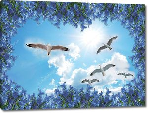 3d background for room Blue sky flying seagull living room background wall. 3D wallpapers look very real, not only can protect your wall, but also bring different colors to your room! High-definition