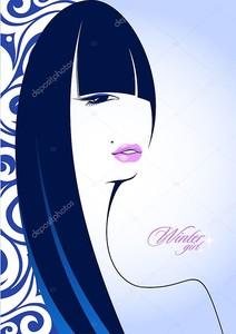 Стильный портрет зимней девушки с длинными волосами .