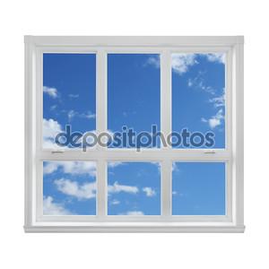 Голубое небо, видели через окно