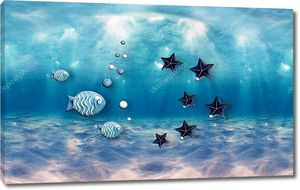 Океан под водой, лучи света, абстрактные рыбы