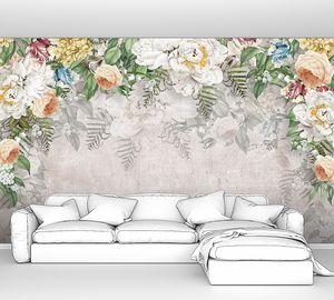 Различные цветы на серой стене