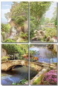 Сказочный сад с мостами и рекой