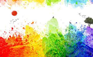 Горы цветными кляксами