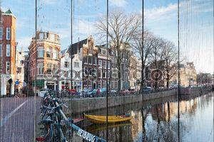 Амстердам канал улицу зимой