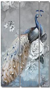 Павлин сидит среди белых роз