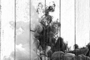 Абстрактных черно-белая акриловая краска