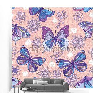 Бесшовный фон с бабочками и цветами