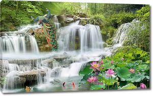 Водопадные потоки с павлинами