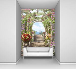 Цветочная арка с мостиком к террасе