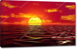 3d иллюстрация, морские волны, стая птиц на фоне заката