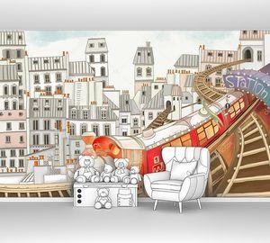 Детский яркий поезд на фоне домов