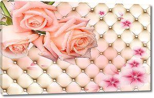 Розы на фоне стяжки из кожи