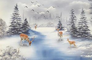 Олени на замерзшей реке