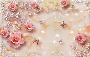 Розы с бабочками на перламутровой скатерти