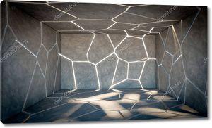 Треснувший абстрактный бетонный зал