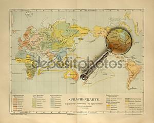карта старого света с увеличительным стеклом